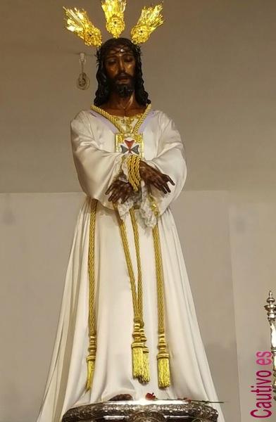 Jesús Cautivo en la Casa Hermandad con la tunica de la Semana Santa de Málaga de 2016
