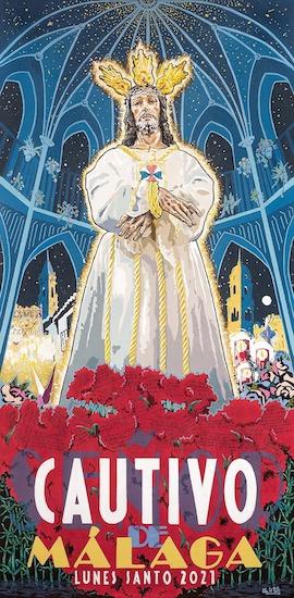 Cartel anunciador del Lunes Santo 2021 de la cofradía del Cautivo y la Trinidad